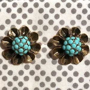Gold and blue beaded flower earrings